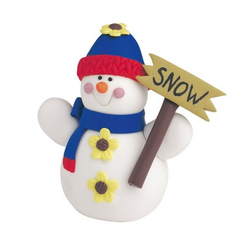 snowman with sign claydough cake topper