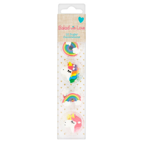 unicorn and rainbow sugar pipings