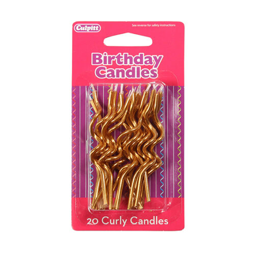 Gold Curly Candles - single