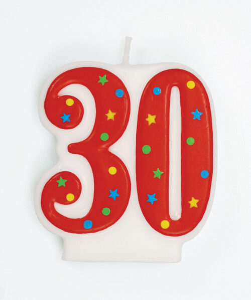 Red Multi '30' Candle - single
