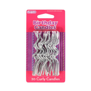 Silver Curly Candles - single