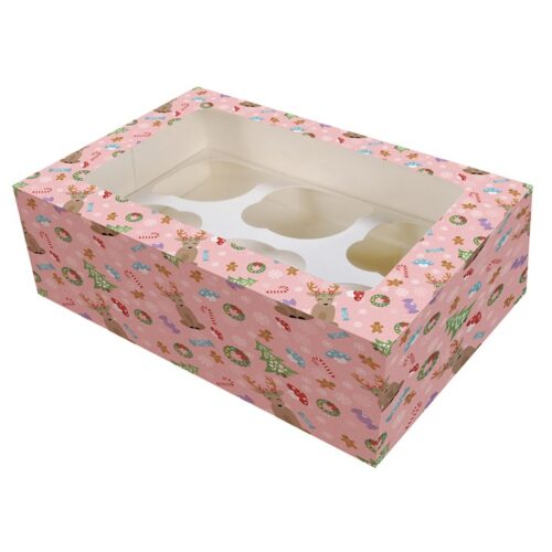 6_12 Hole Christmas Magical Woodland Cupcake Box - Single