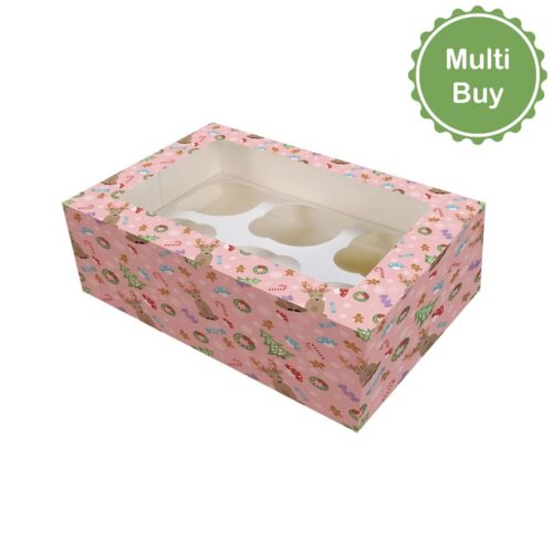 6_12 Hole Christmas Magical Woodland Cupcake Box - multi