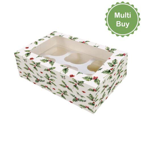 6_12 Hole Holly Cupcake Box - multi