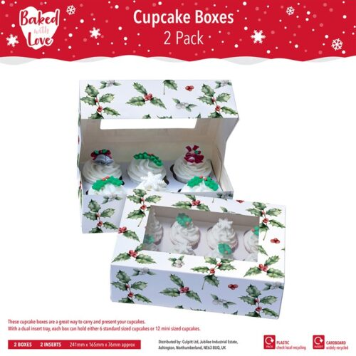 6_12 Hole Holly Cupcake Box - pack of 2