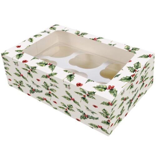 6_12 Hole Holly Cupcake Box - single